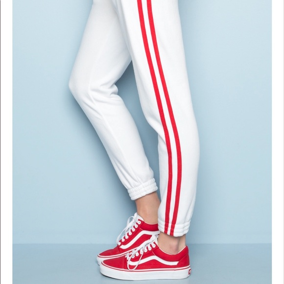 official images buy best shop for original Brandy Melville red striped sweatpants/joggers NWT